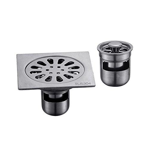 Zhi Jin 1Edelstahl quadratisch Dusche Bodenablauf Sieb mit Cover Abnehmbare Badezimmer gebürstet Nickel Single-use E (Blatt Sealer)