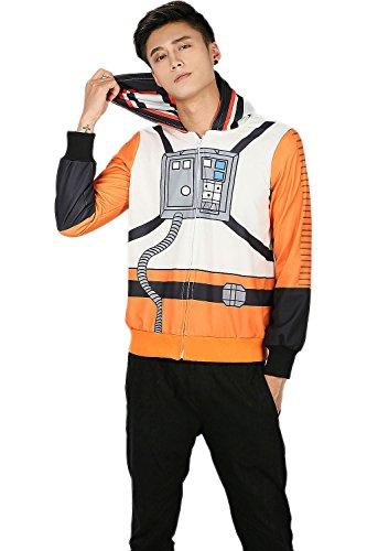 Herren Kapuzen Pullover Hoodie Pilot Cosplay Kostüm Weiß Orange Dacron Sweatshirt Kleidung Top Jacke (Kostüm Boba Fett Cosplay)