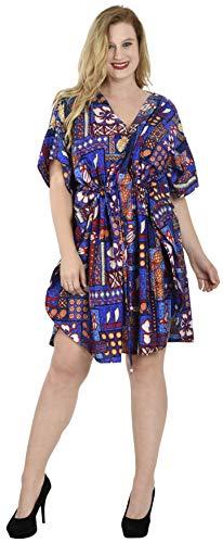 LA LEELA Damen überdimensional Midi Gedruckt Kimono Kaftan Tunika Kaftan Damen Top Freie Größe Loungewear Urlaub Nachtwäsche Strand jeden Tag Kleider Blau_U15 - Kaftan Tunika Top