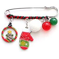Ouken 1pc Broche de Navidad Blanco Bola Guante de Navidad árbol patrón Navidad Creativa Broche Pin Chal Clip bisutería para niños niños Mujeres Navidad Ornamento Regalos.