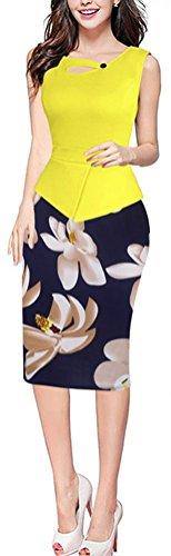 SunIfSnow - Robe spécial grossesse - Moulante - À Fleurs - Sans Manche - Femme Jaune