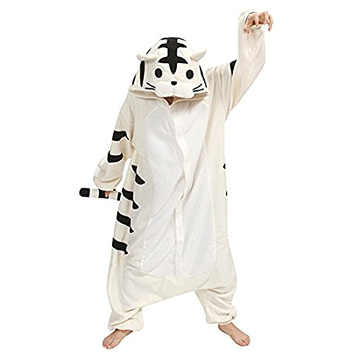 Casa Adult Kigurumi - Erwachsene Unisex Cosplay Jumpsuit Tier Onesie Tieroutfit Schlafanzug mit Kapuze 3D Cartoon Fasching Overall Pyjamas Nachtwäsche Tiger