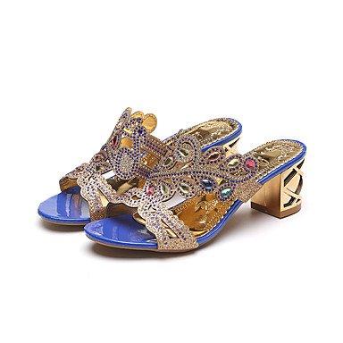 LvYuan Sandali-Formale Casual Serata e festa-Comoda Innovativo-Quadrato Zeppa-Finta pelle-Nero Blu Beige Blu reale Royal Blue