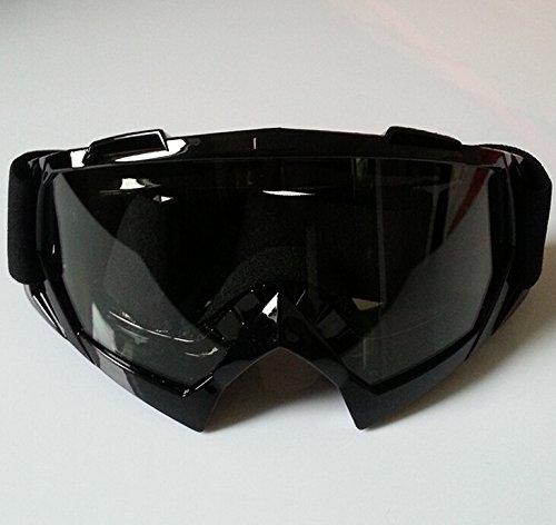 CICMOD Motorrad Brille Fahrerbrille Motocross Sport Kunststoff Brille Skibrille gegen Wind und Staub, Transparente Gläser und Schwarz Rahmen -