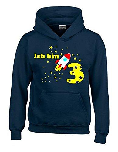 Ich bin 3 Jahre ! - Kinder Geburtstag RAKETE Sweatshirt mit Kapuze HOODIE jungs Birthday navy, Gr.104cm