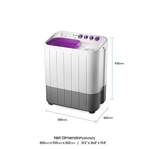 Samsung 6.5 kg Semi-Automatic Top Loading Washing Machine (WT655QPNDRP, White and Purple)