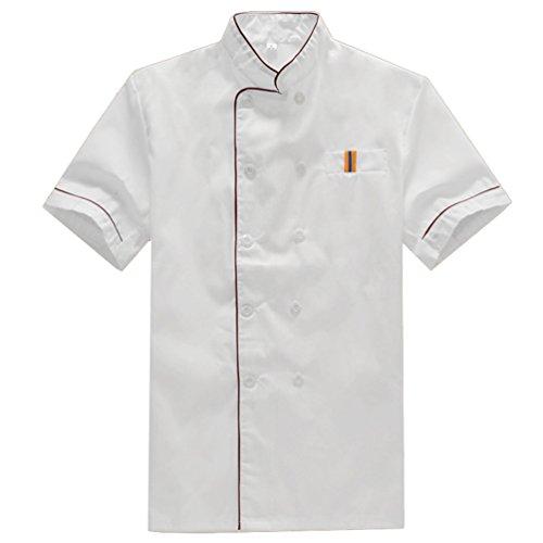 NiSengs Unisex Giacca da Chef Elegante Red Rim Design Divise da Cuoco con Pocket Uniformi per Cucina Mensa Hotel Bianca 3XL