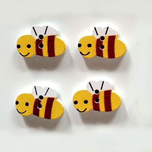 Bomcomi 50pcs / Pack-Nette Karikatur-Biene Umweltschutz Buttons -
