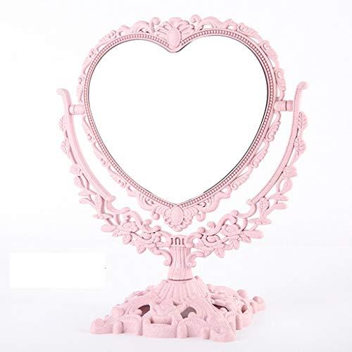 Miroir De Maquillage De Bureau Européen Miroir Miroir De Mariage Miroir De Princesse Miroir Portable Simple Mode Grand Double Miroir (Color : White)
