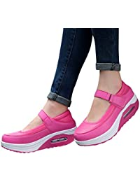 Baskets Compensées Femmes Wedge Heel Chaussure de Sport Course Running Fitness Tennis Slip on Confortable Mode Basses Cuir Lacets Ro