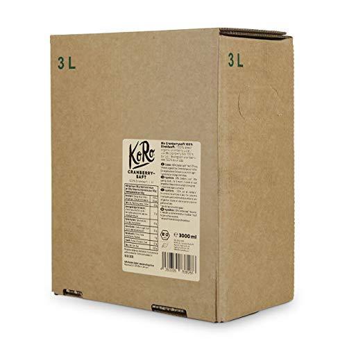 KoRo - Bio Cranberry Saft Bag-in-Box 3 l - 100% Direktsaft aus bio Cranberries, ohne Zuckerzusatz, in der Vorteilspackung