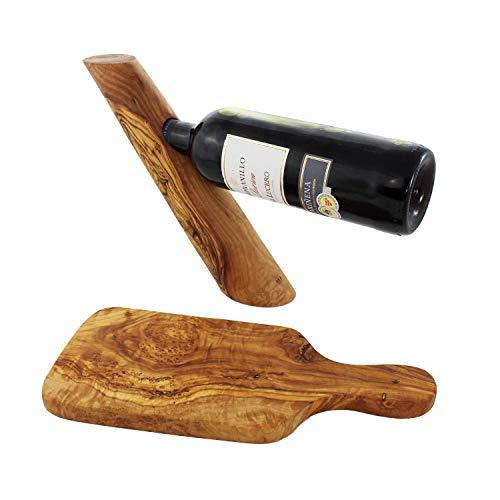 Wein und Käse Set | Geschenkidee für Männer | Frühstücksbrettchen und Weinflaschenhalter aus Holz | Olivenholz - HANDMADE | Geschenkideen für Papa | Geschenk Weinachtsgeschenk