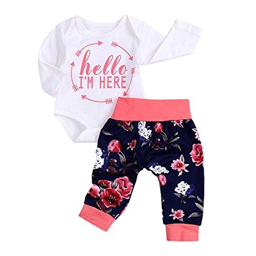 Neugeborene Baby Mädchen Junge Brief Drucken Strampler Overall Tops + Blumen Hosen Outfit Set Tütü Herbst Babykleidung Weich Kinderkleider für 1-2 Jahre