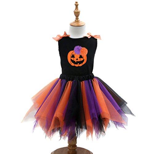 Kostüme Halloween Günstige (Sronjn Mädchen Ärmellos Kinder Kleid Halloween Karneval Kostüm festlich Partykleid Cosplay Kostüme Kleidung Festzug Stil 1)