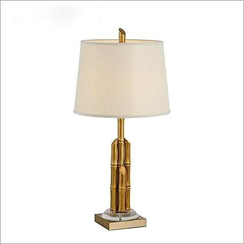 OOFWY E27 Tischlampe Modern Minimalist Style für Hotel Schlafzimmer Wohnzimmer Bedside Dekoration Weberei Lampshade Galvanisch Metall Kupfer Bambus Kristall Schreibtischleuchten Höhe 29inch