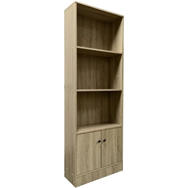 Lyon Tall Bookcase 4 Tier With 2 Doors Spacious Cupboard 60cm Wide