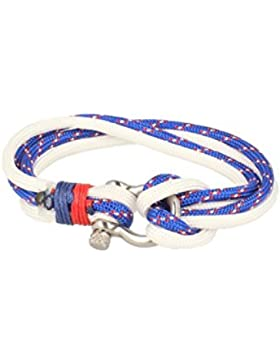 Baxter Jewelry London Armband Nylon Blau Weiss Schmuck Sportlich Schraubverschluss 21,5 cm