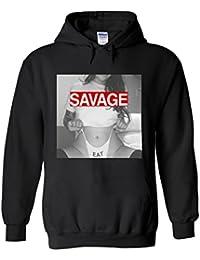 Sexy Savage Eat Hot Girl Lady Novelty White Femme Homme Men Women Unisex Sweat à Capuche Hooded Sweatshirt Hoodie