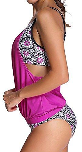 Imbry Damen Bikini Set Tankini Streifen zweiteilig Schwimmanzug Bademode Strand Bikini Oberteile + Höschen Rosa