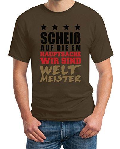 Scheiss Auf Die EM - Hauptsache Wir Sind Weltmeister Deutschland Farben T-Shirt Braun