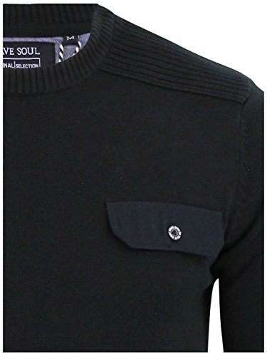 Brave Soul Herren Pullover Black | Pocket