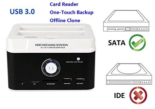 Ronsen 895U3SC Externe Festplatte Docking Station - USB 3.0 Dual Bay Festplattenleser für 2,5 / 3,5 Zoll SATA I / II HDD SSD, mit All-in-1 Kartenleser (SD / XD / Micro SD / TF / MS / M2 / CF / MD Karte), One Touch Backup und Offline Clone Funktion, Unterstützung 2x 8TB, Tool-Free