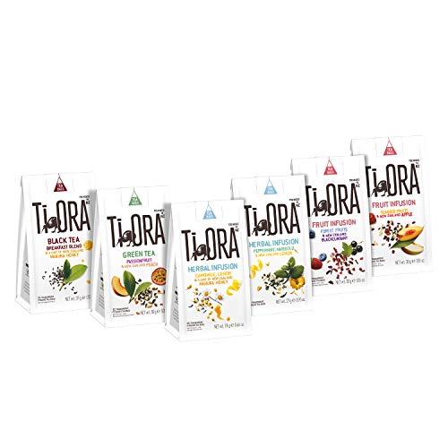 Ti Ora Tee, Probierbox mit 6 Sorten, 90 Pyramiden - Teebeutel, 6 x 15 Getränke, 6er Vielfaltspaket
