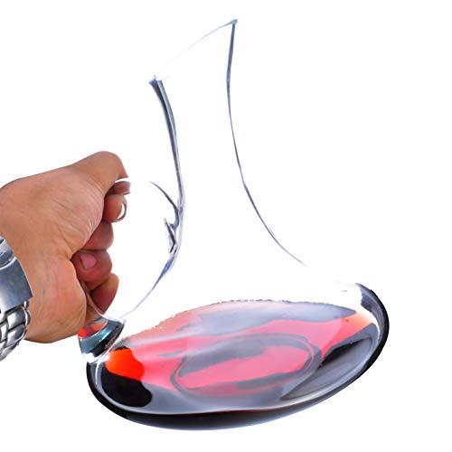 Carafe à Vin Classique de 1.5 L Avec Poignée - Ouverture Oblique - Verre En Cristal 100% Sans Plomb Soufflé à La Main, Accessoires Pour Le Vin, Carafe à Vin Rouge, Cadeau Pour Le Vin, Ensemble Carafe,