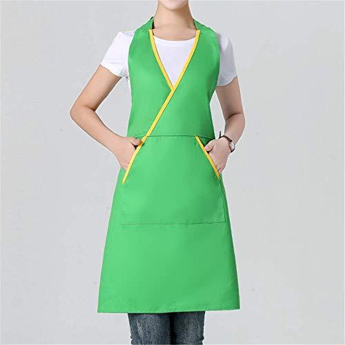 YXDZ Westlichen Stil Mode Europäischen Schürze Männer Und Frauen Küche Hotel Teestube Kaffeestube Taille Shop Chef Arbeiten Schürze Hängenden Hals Grün