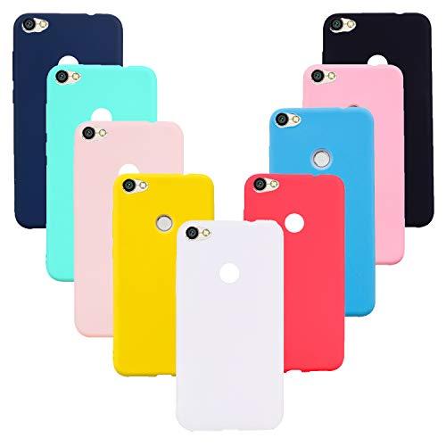 HereMore 9 x Funda para Xiaomi Redmi Note 5A/5A Prime, Carcasa Protectora Suave Mate en Silicona Antigolpes Cubierta de Protección[Rosa,Amarillo, Azul, Rojo,Azul Oscuro,Rosa Claro,Blanco,Negro,Verde]