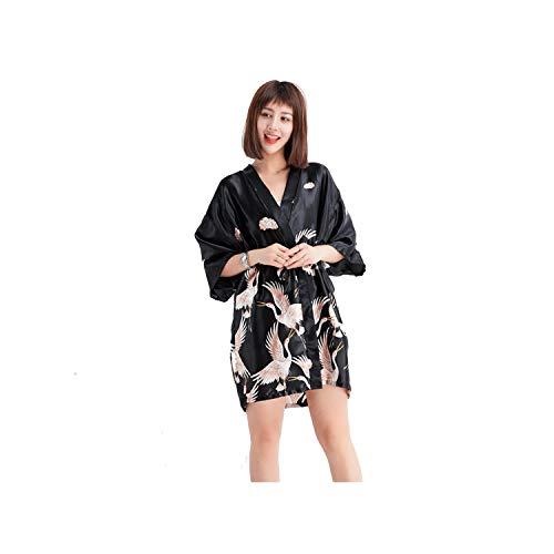 Summer New Female Bat Sleeve Robe Gown Kimono Bath Sleepwear Home Dress Bride Bridesmaid Wedding Geisha Nightgown,Black1,XXL