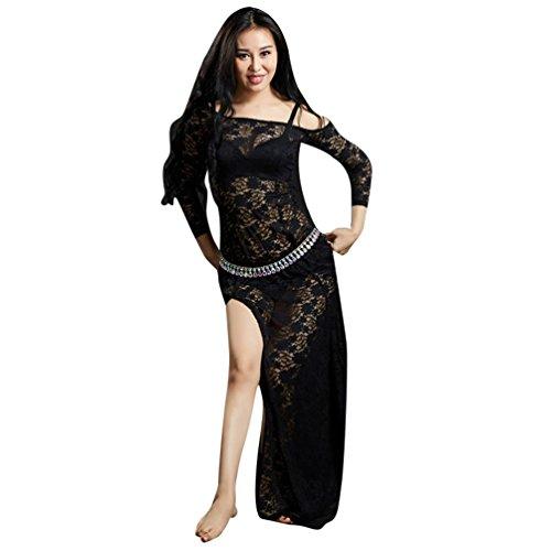 YuanDian Damen Spitze Bauchtanz Kleider Hohe Split Lange Ärmel Perspektive Elegante Tribal Orientalischen Arabischen Belly Dance Kostüm Kleid (Keine Taille Kette) - Schwarzes Kleid Dance Kostüm