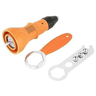 Kit de pistola de tuerca remachadora eléctrica Kit de adaptador de taladro pistola remachadora Herramienta de inserción accesorios de herramienta eléctrica de mano tuerca (naranja)