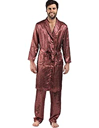 6245318ee74 Mens Satin Wrapover Kimono Style Dressing Gown Red or Blue MED LGE XLGE  XXLGE (LARGE