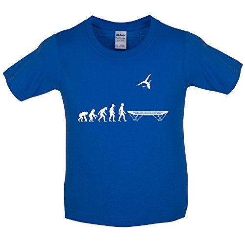 Evolution of Man - Trampolinspringen - Kinder T-Shirt - Royalblau - XL (12-14 Jahre) -