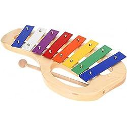 ammoon Madera de pino Xilófono 8 Notas 3 mm Placa de Aluminio Colorido con Mango de Palo de Madera Mallet Percusión Exquisita Niño Juguete Musical