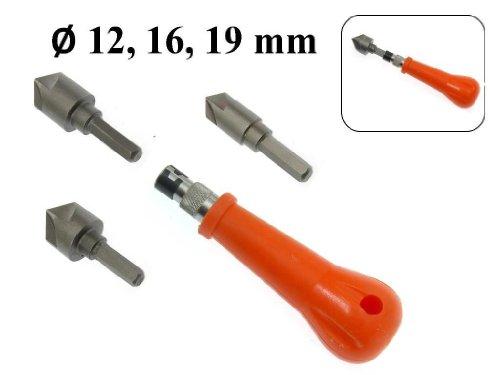 4 tlg Set Kegelsenker Handgriff 12 mm, 16 mm, 19 mm