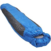 SONGMICS Mummy Sleeping Bag Synthetic Fiber Filling for Adults Outdoor Camping Hiking Backpacking in Cool Weather Portable with Compression Carrier Zero Degree 220 x 80/50 cm GSB01UG
