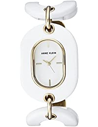 Anne Klein Women's AK/2674WTGB Gold-Tone And White Open Link Bracelet Watch