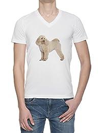 Perro Del Caniche V Cuello Camiseta Para Hombre Blanca Todos Los Tamaños | Men's White V Neck T-Shirt Top
