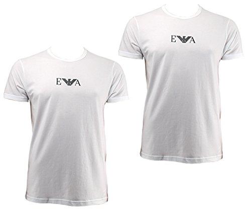 Emporio Armani 2 Pack Rundhals T Shirts mit EA Logo CC715 111267 M weiß 04710 (Armani-jersey-t-shirt Emporio)