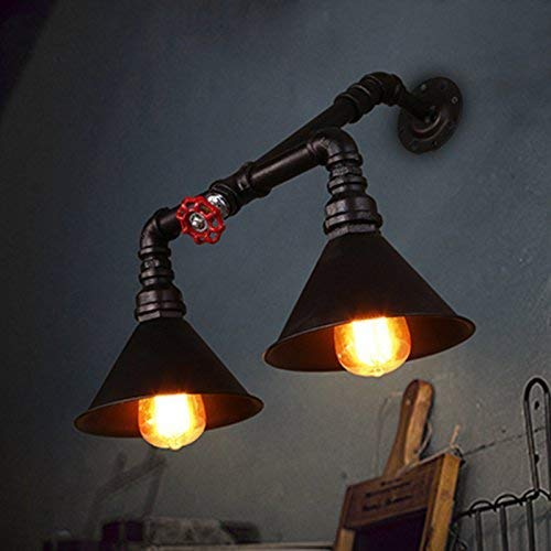 WHKHY Applique Murale Loft Lignes Retro Walk Stairs Bar Restaurant Engineering Lampes et lanternes d'éclairage 2 Head E 27, 47 * 55 cm of New,#1