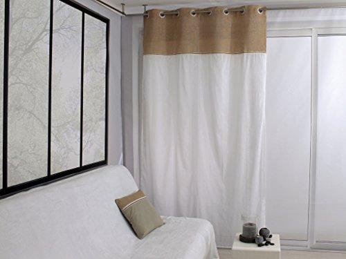 Soleil d\'ocre Tenda in Voile Tessuto Doppio con Occhielli 140 x 240 cm Jute Tortora