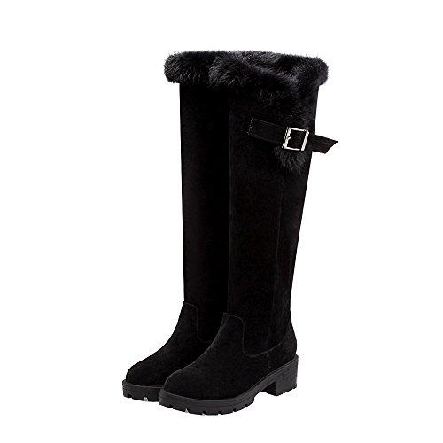 ENMAYER Femmes Nubuck Matériel Au genou Chaussures Med Heaume rond Boucle Boucle Bottes Fluffy Bottes hiver Chaussures Noir