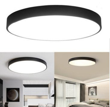 MASUNN 12W 18W 24W 5CM Chaud/Froid Blanc Plafonnier LED Montage Noir pour Maison Chambre Salon - Blanc Chaud - 18W