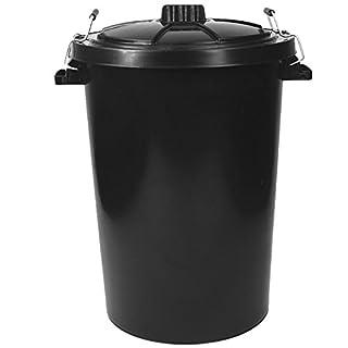 Metal Lockable Handled 80/85L Black Bin Indoor/Outdoor Garden Rubbish Plastic Heavy Duty