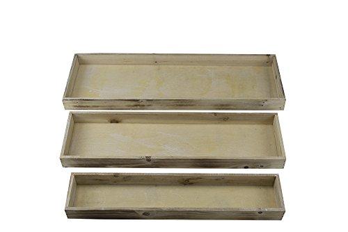 Holz Tablett Set 3 Stück länglich (Holz-essig)