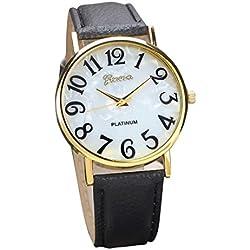 Familizo Women Retro Digital Dial Leather Band Quartz Analog Wrist Watches Black