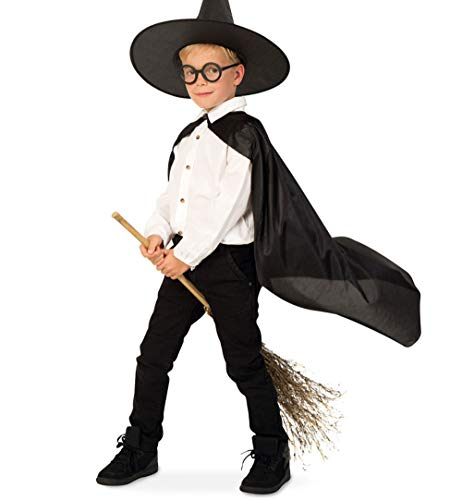 KarnevalsTeufel Kinderkostüm Zauberlehrling Umhang mit Hut Hexer Schüler Magier Verkleidung (164)
