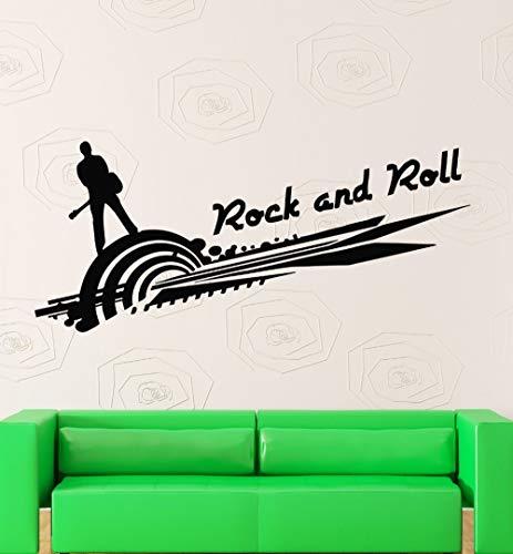 Wandtattoo Rock'n'Roll Musik Fan Guitar Murals Vinyl Aufkleber 36x81cm